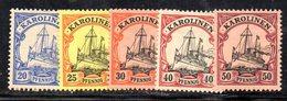 APR1120 - CAROLINE KAROLINEN 1900 , 5 Valori Diversi Linguelle Pesanti  *  (2380A) . - Colonia: Isole Caroline