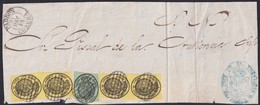1858. PADRÓN. FRAGMENTO DE PLICA JUZGADO 1ª INSTANCIA DE PADRÓN. MEDIA ONZA ED. 35(4) Y CUATRO ONZAS ED. 37. MUY RARO. - 1850-68 Königreich: Isabella II.