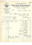 1919 FACTURE Sté PARISIENNE DE LINGERIE ET BONNETERIE à LYON - France