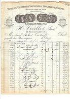 1911 FACTURE H. VIEILLOT TULLES ET DENTELLES RUE DE CLERY à PARIS - France