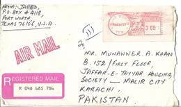 USA Registered Airmail Red Machine Paid Postmark Sent To Pakistan.3.65 - Brieven En Documenten