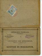 1263. BORDEAUX TITRE DE PROPRIETE D'UN VEHICULE RENAULT MZ 1926 - Coches