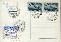 45069  Italia, Special Card And Postmark Rimini 1947 Giornata Filatelica  (2 Scan) - Italia