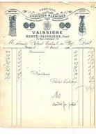 1911 FACTURE VAISSIERE FABRIQUE DE CRAVATES BLANCHES RUE D'ABOUKIR à PARIS - France