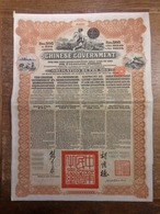 RC 12679 CHINE 1913 ACTION EMPRUNT CHINESE GOVERNMENT BANQUE DE L'INDOCHINE A PARIS OR GOLD 505FRS - Asie