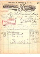 1911 FACTURE LES FILS DE EMANUEL LANG FILATURES ET TISSAGES RUE BACHAUMONT à PARIS - France