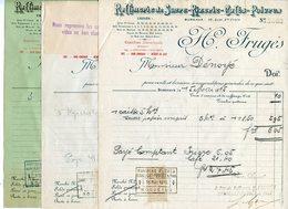 LOT 3 FACTURES RAFFINERIE DE SUCRE RIZERIE CAFES POIVRES H. FRUGES A BORDEAUX 1915 - France
