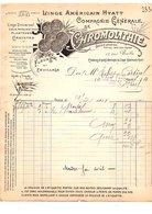 1911 FACTURE Cie CHROMOLITHIE LINGE AMERICAIN HYATT RUE BAILLY à PARIS - France
