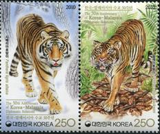 South Korea 2010. Tigers (MNH OG) Block Of 2 Stamps - Korea, South