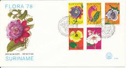 Surinam FDC 7-2-1974 Complete Set Of 4 Flowers With Nice Cachet - Surinam