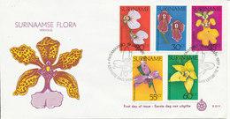 Surinam FDC 19-1-1977 Complete Set Of 5 Flowers With Nice Cachet - Surinam