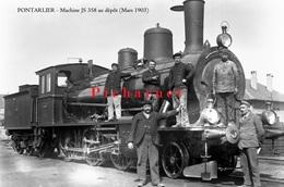 PONTARLIER - La Gare. Machine JS 358 Au Dépôt Avec L'équipe De Mécaniciens. Retirage D'une Photo Sur Plaque De 1905. - Pontarlier