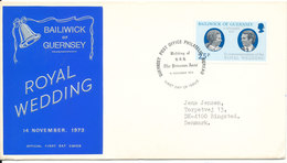 Guernsey FDC 14-11-1973 Royal Wedding With Cachet - Guernsey