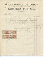 GIRONDE MEDOC FACTURE DE LA BOULANGERIE DE LUDON. LAROZA FILS AÎNE 1916 - France