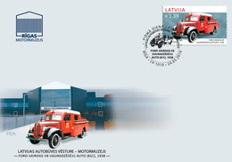 Fire Truck LATVIA / LETTLAND 2019 Old Car History Automobile 1938 FORD - VAIROGS V8  FDC - Brandweer