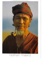 Northern Thailand Thailande Po Karen Hilltribe Vieil Homme Fume Pipe Gros Plan Photo Mason Florence - Thailand