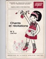 CHANTS ET RECITATIONS DIFFUSES PAR LA RADIO SCOLAIRE 1966-67  N°2 CM2 - FEP  ACHAT IMMEDIAT - 6-12 Años