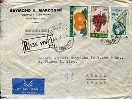 45093 Liban, Circuled Cover Registered 1956 To Italy (some Transports Damages !!) - Lebanon