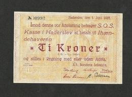 DENMARK HADERSLEV 10 KRONER 1927 UNC - Danimarca
