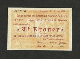 DENMARK HADERSLEV 10 KRONER 1927  CHOICE UNC - Danimarca