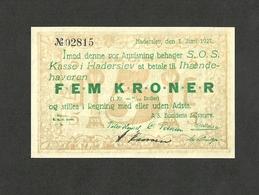 DENMARK HADERSLEV 5 KRONER 1927 UNC - Denmark