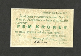 DENMARK HADERSLEV 5 KRONER 1927 WITHOUT SERIAL UNC - Denmark