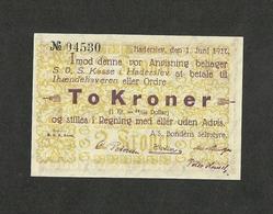 DENMARK HADERSLEV 2 KRONER 1927 WITHOUT SIGNATURES UNC RARE - Denmark