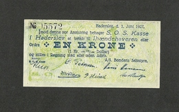 DENMARK HADERSLEV 1 KRONE 1927 Emergency Note From South Jutland P-NL1 UNC RARE - Denmark