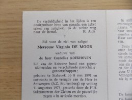 Doodsprentje Virginia De Moor Stabroek 8/5/1891 Antwerpen 31/8/1973 ( Cornelius Koekhoven ) - Godsdienst & Esoterisme