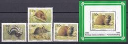 Wib_ Bophuthatswana  - Mi.Nr. 235 - 238 + Block 5 - Postfrisch MNH - Tiere Animals - Nager