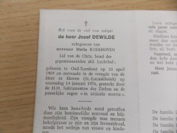 Doodsprentje Jozef Dewilde Oud Turnhout 10/4/1909 Ekeren 14/1/1976 ( Maria Koekhoven ) - Godsdienst & Esoterisme