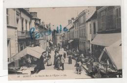 77 SEINE & MARNE - CP ANIMEE MORET ( Sur Loing ) - LE MARCHE RUE DE L'EGLISE - LL N° 42 - CIRCULEE EN 1915 - Moret Sur Loing