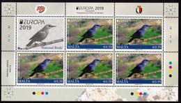 "MALTA EUROPA 2019 ""National Birds"" SHEETLET**different Bottom Perforation, UNFOLDED - 2019"