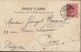 YT 59 India Postage Revenue One Anna CAD Sea Post Office Bombay Aden (ambulant Maritime) 23 Ma 09 CPA SS Egypt Bateau - India (...-1947)