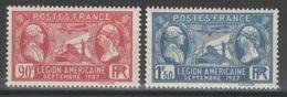 France - YT 244-245 ** MNH - TB - Légion Américaine - 1927 - France