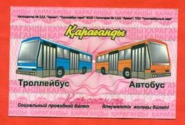 Kazakhstan.  City Karaganda. Unlimited Social Nominal Bus Ticket. - Season Ticket