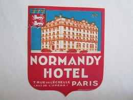 Publicité étiquette De Voyage Valise Normandy Hôtel 7 Rue De L'échelle Avenue De L'opéra Paris - Publicités