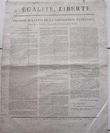 "Placard REVOLUTION "" EGALITE, LIBERTE "" < PREMIER BULLETIN CONVENTION NATIONALE /AN 2 - Historische Documenten"