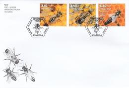 FDC CROATIA 1187-1189,bees - Abeilles