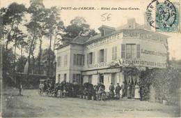 CPA 27 PONT DE L'ARCHE HOTEL DES DEUX GARES CAFE BILLARD A.GOLBERT VOITURES A VOLONTE  1907 VOIR IMAGES - Pont-de-l'Arche