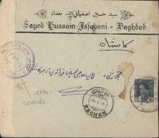 Iraq  Lettre Sayed Hussain Isfahani Baghdad Bande Censure + Cachet YT Iraq 113 CAD Bagdad 4 Jly 40 + CAD Kachan Kashan - Iraq