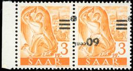 * SAAR. 60c. Sur 3p. Jaune-orange. Timbre Sans Chiffre Tenant à Normal. SUP.(cote : 0) - Sarre