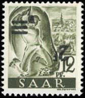 ** SAAR. 2Fr. Sur 12p. Brun-olive. Surcharge Renversée. TB.(cote : 0) - Sarre