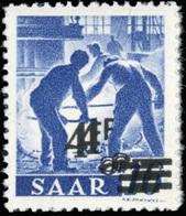 ** 4Fr. Sur 16p. Outremer. Double Surcharge. BdeF. SUP.(cote : 650) - Sarre