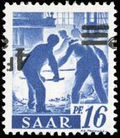 * SAAR. 4Fr. Sur 16p. Outremer. Surcharge Renversée. TB.(cote : 0) - Sarre