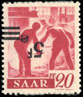 ** SAAR. 5Fr. Sur 20p. Rouge Carminé. Surcharge Renversée. B.(cote : 600) - Sarre