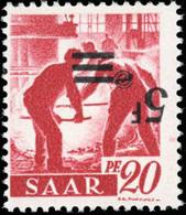 * SAAR. 5Fr. Sur 20p. Rouge Carminé. Surcharge Renversée. TB.(cote : 0) - Sarre