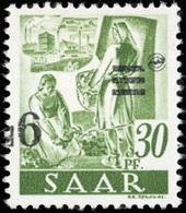 * SAAR. 9Fr. Sur 30p. Vert-jaune. Surcharge Renversée. TB.(cote : 0) - Sarre