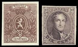 * Petit Lot D'essais De Différentes Couleurs. 4 Médaillons Et 3 Lyons (1866). TB.(cote : 0) - Belgique