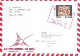 """Airmail Brief  """"Visite El Peru""""  Lima - Bern             1994 - Peru"""
